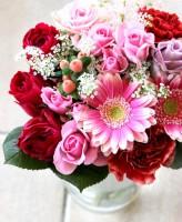 赤ピンク系 花束