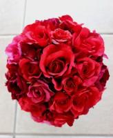 赤バラのシルクフラワーラウンドブーケ